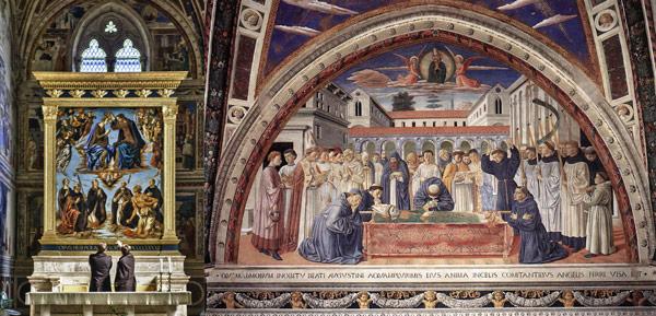Фрески Беноццо Гоццоли в церкви святого Августина в Сан-Джиминьяно