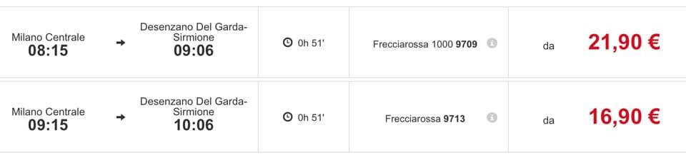 Расписание скоростных поездов Трениталия из Милана до озера Гарда