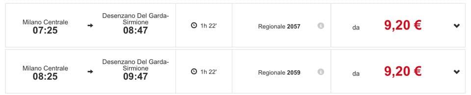 расписание региональных поездов из Милана на озеро Гарда