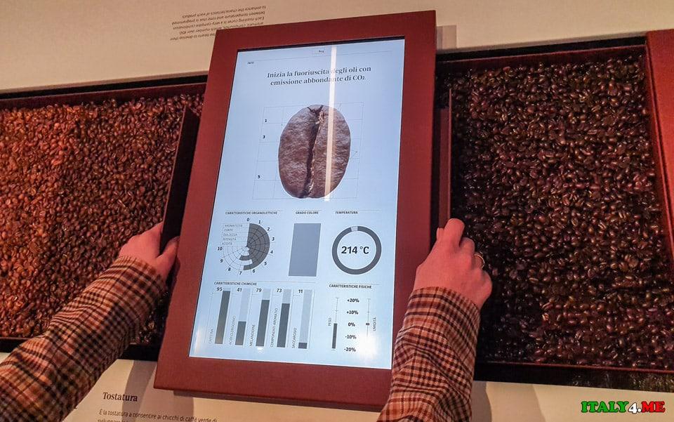 Процесс обжарки зёрен кофе в музее в Турине