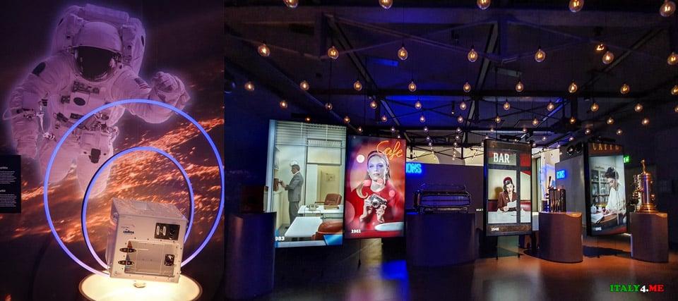 интерактивные стенды в музее кофе в Турине и кофе-машина в космосе