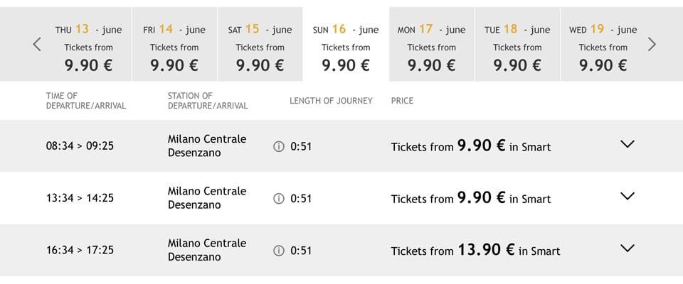 Расписание скоростных поездов ItaloTreno из Милана на озеро Гарда