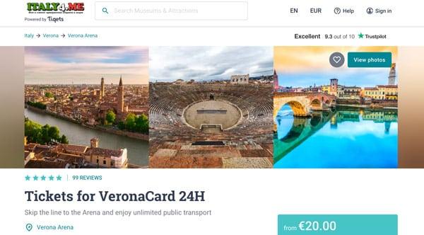 Покупка Verona Card на официальном сайте Tiqets