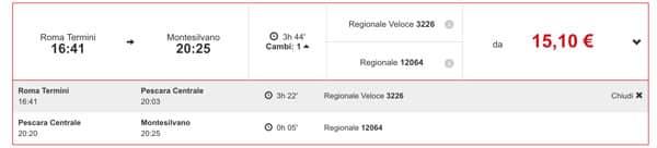 Расписание поездов из Рима в Пескару и Монтесильвано