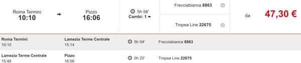 Экономный вариант путешествия поездом в Пиццо из Рима