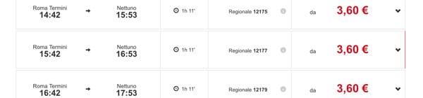 Расписание поездов из Рима в Неттуно