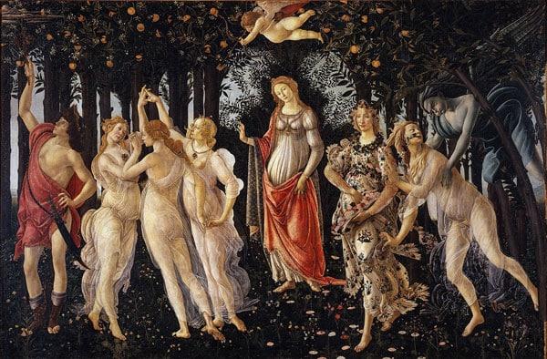 Весна картина Боттичелли в галерее Уффици