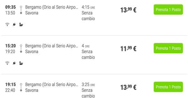 Расписание автобусов из аэропорта Бергамо до Савоны и цены билетов