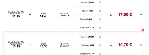 Расписание поездов из Ламеция в Сибари