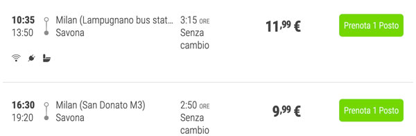 Расписание автобусов из Милана в Савону