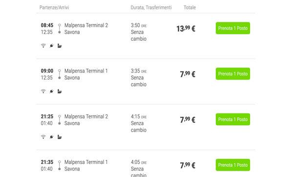 Расписание автобусов из аэропорта Мальпенса в Савону