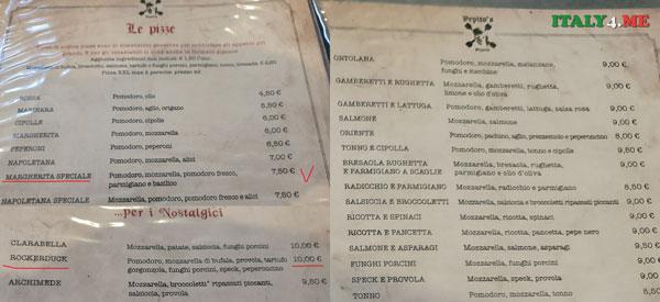 Pizzeria Pepito's в Риме меню и цены на пиццу