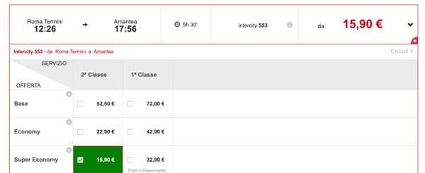 Расписание поезда из Рима в Амантеа, цены билетов