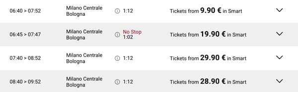 Расписание скоростных поездов Italotreno из Милана в Болонью