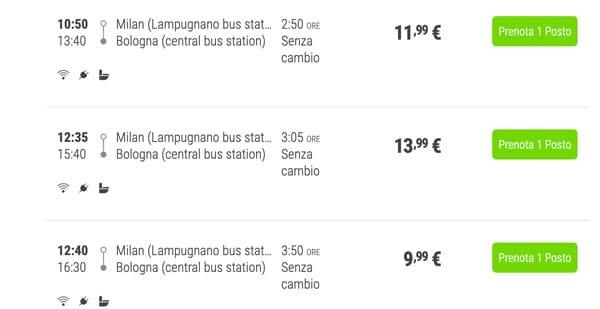 Расписание автобусов из Милана в Болонью и цены билетов