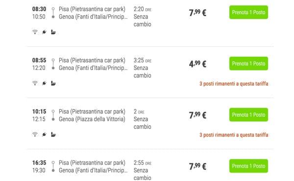 Расписание автобусов из Пизы в Геную