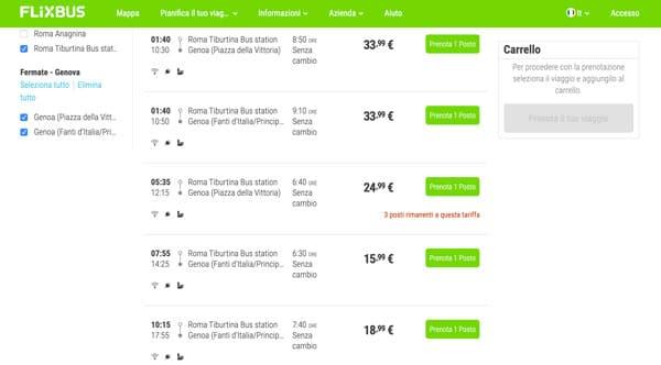 Расписание автобусов Рим Генуя цены билетов