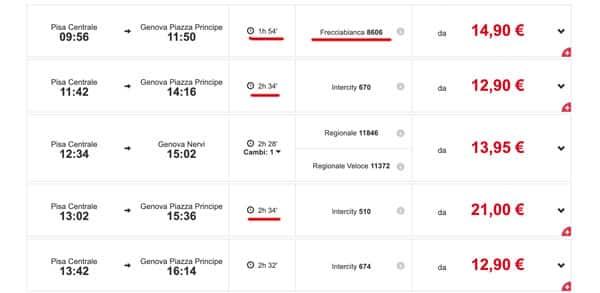 Расписание поездов из Пизы в Геную