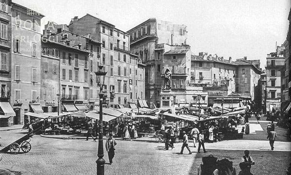 Кампо деи Фьори в конце XIX века