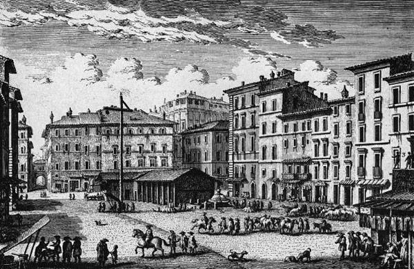 Кампо деи Фьори в 1700 году, история застройки площади