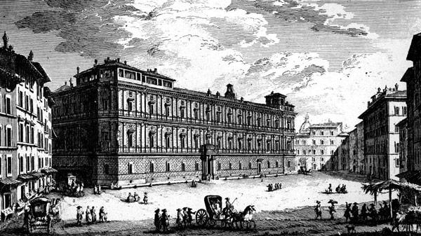 Дворец Канчеллерия рядом с площадью Кампо деи Фьори