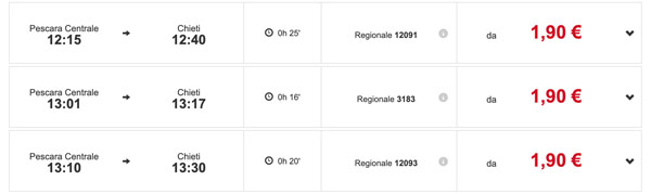 Расписание поездов из Пескары в Кьети
