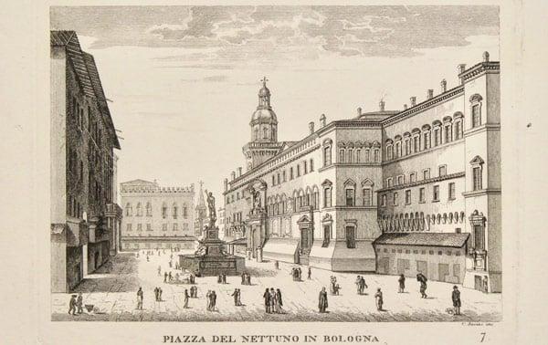 Площадь Нептуна в Болонье в XIX веке