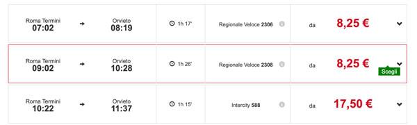 Расписание поездов в Орвието из Рима