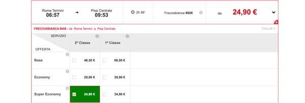 Расписание поездов из Рима в Пизу и цены билетов