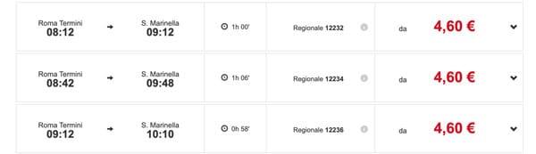 Рим Санта Маринелла расписание поездов