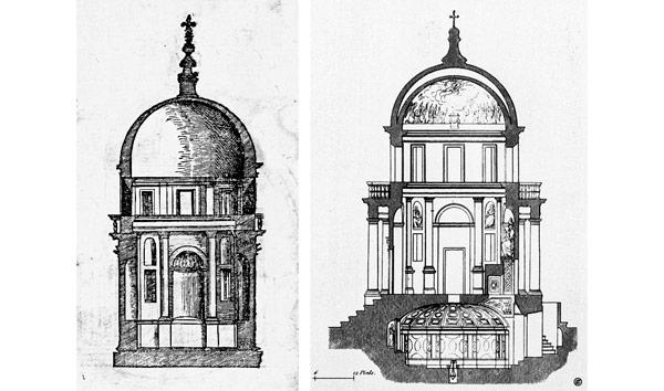 Чертежи Темпьетто Браманте в Риме выбор архитектурной формы