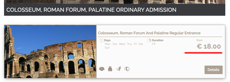 Базовый билет в Колизей и на Римский Форум за 18 евро