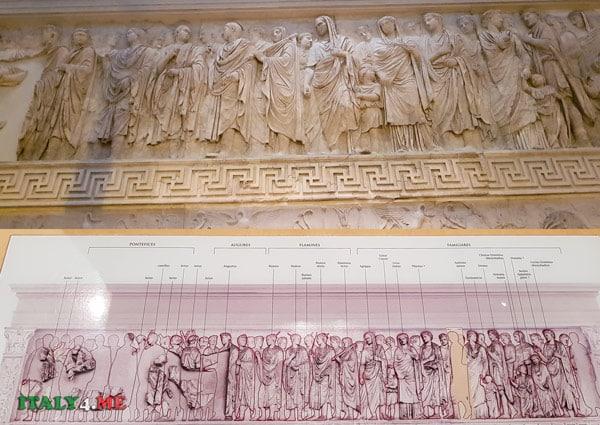 Барельеф с семьёй императора Августа на алтаре мира в Риме