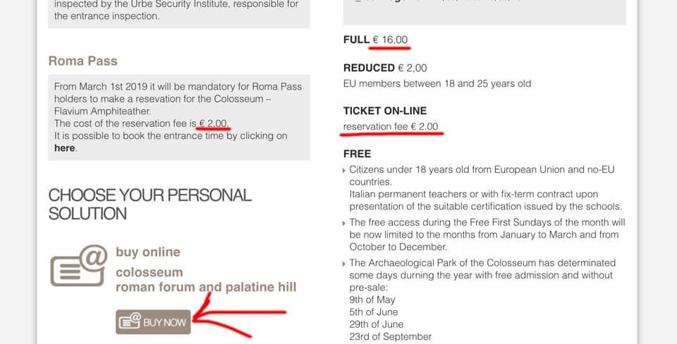 Покупка билетов в Колизей на официальном сайте