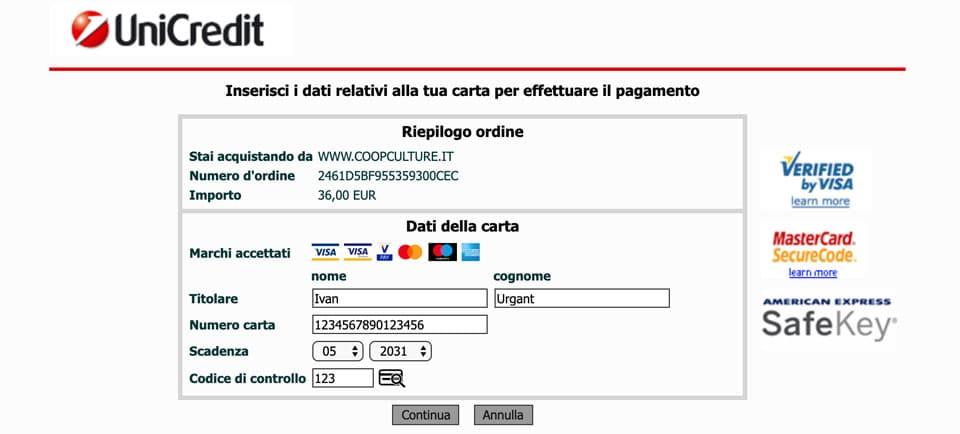 Ввод данных кредитной карты при покупке билетов в Колизей онлайн