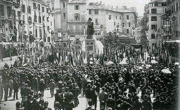Открытие памятника Джордано Бруно в Риме