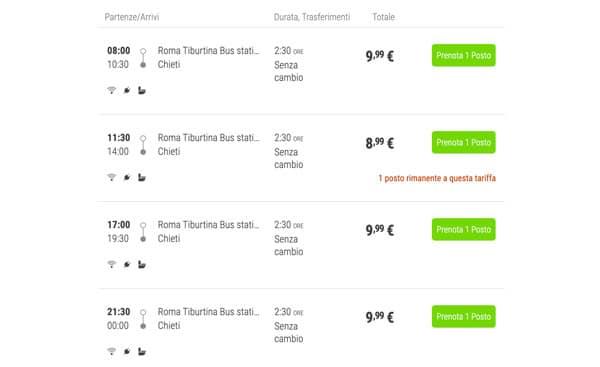 Расписание автобусов из Рима в Кьети
