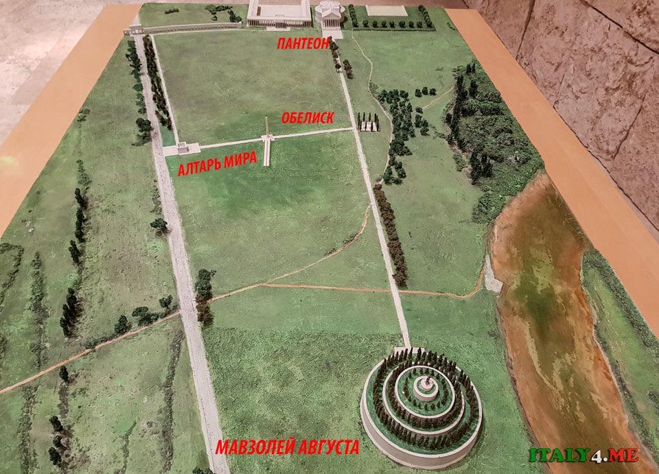 Расположение Алтаря мира на Марсовом поле в Древнем Риме