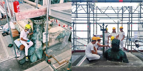 Реставрация фонтана Нептуна в 2017 году в Болонье