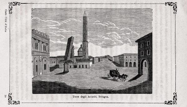 Историческая гравюра падающие башни в Болонье