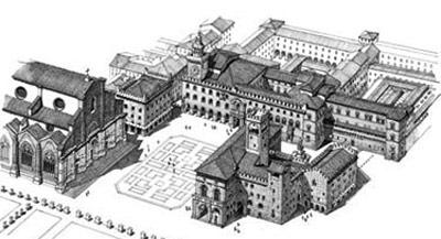Схема площади Маджоре в Болонье