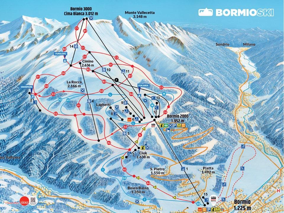 Схема трасс на горнолыжном курорте Бормио - спуски и подъёмники