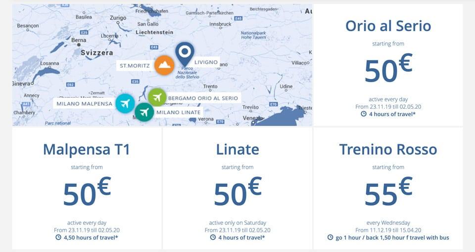 Стоимость билетов на экспресс автобус до Ливиньо из аэропортов Милана