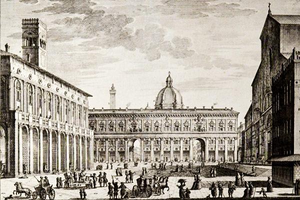 Пьяцца Маджоре в Болонье в XIX веке гравюра