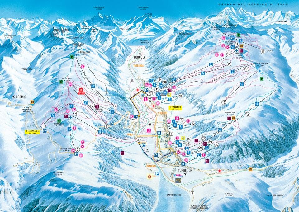 Схема трасс горнолыжный курорт Ливиньо, Италия