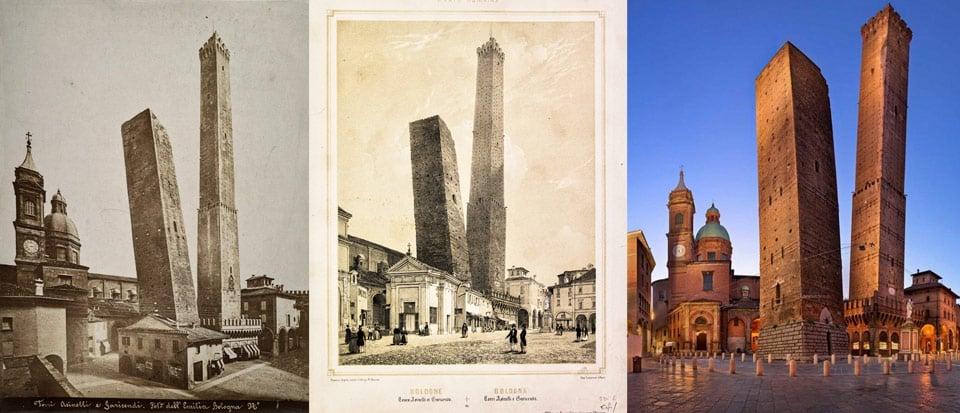 Исторические фотографии падающих башен в Болонье