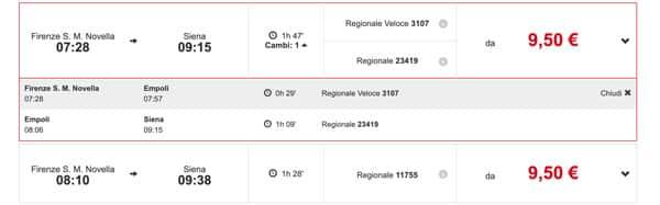 Расписание поездов из Флоренции в Сиену