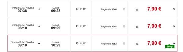 Расписание поездов из Флоренции в Лукку