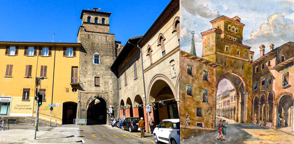 Средневековая башня башне Торресото Сан-Витале (Torresotto di San Vitale) в Болонье