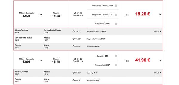 Расписание поездов из Милана до Абано Терме